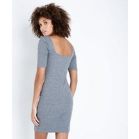 Grey Ribbed Square Neck Bodycon Dress New Look