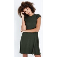 Khaki Ribbed Cap Sleeve Swing Dress New Look