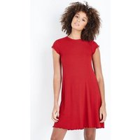 Red Ribbed Cap Sleeve Swing Dress New Look