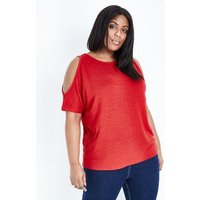 Curves Red Cold Shoulder Fine Knit Top New Look