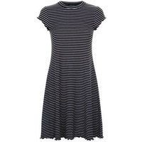 Black Stripe Frill Hem Swing Dress New Look