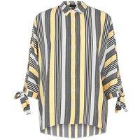 White and Yellow Stripe Split Sleeve Oversized Shirt New Look