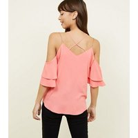 Coral Chain Strap Cold Shoulder Top New Look