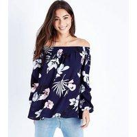 AX Paris Blue Floral Bardot Neck Long Sleeve Top New Look