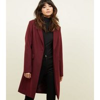Burgundy Single Breasted Formal Coat New Look