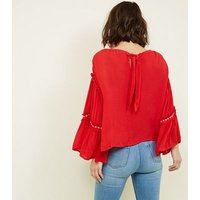 Blue Vanilla Red Tassel Aztec Embroidered Sleeve Top New Look