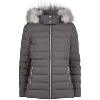 Dark Grey Hooded Puffer Jacket New Look