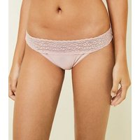 Pink Floral Lace Waist Thong New Look