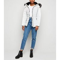 White Faux Fur Trim Hooded Puffer Jacket New Look