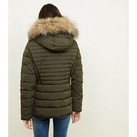 Olive Faux Fur Trim Hooded Puffer Jacket New Look