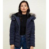 Navy Faux Fur Trim Hooded Puffer Jacket New Look