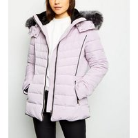 Lilac Faux Fur Trim Hooded Puffer Jacket New Look