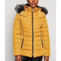 Mustard Faux Fur Trim Hooded Puffer Jacket New Look