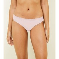 Pink Lace Trim Thong New Look