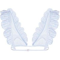 Blue Stripe Broderie Frill Bikini Top New Look