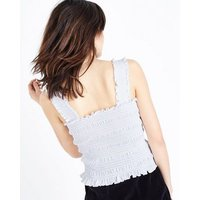 White Square Neck Shirred Vest New Look