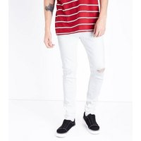 Mens-White-Ripped-Knee-Super-Skinny-Stretch-Jeans-New-Look