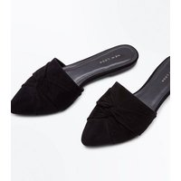 Black Suedette Twist Front Pointed Mules New Look