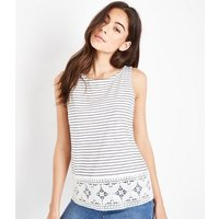 White Stripe Floral Lace Sleeveless Top New Look