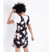 Black Floral Cross Hatch Pinafore Dress New Look