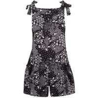 Black Folk Floral Dungarees New Look
