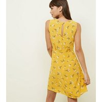 Yellow Floral Sleeveless Tie Front Dress New Look