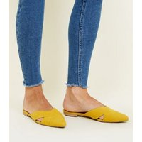 Yellow Suedette Cross Strap Pointed Mules New Look