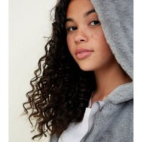 Girls Grey Faux Fur Hooded Bomber Jacket New Look