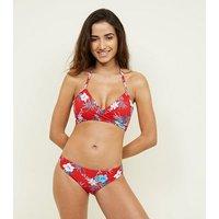 Red Floral Print Bikini Bottoms New Look