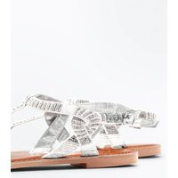 Silver Leather Beaded Twist Side Flat Sandals New Look