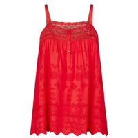 Red Broderie Lace Trim Cami New Look