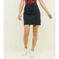 Tall Black Ripped Hem Denim Skirt New Look