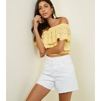 Pale Yellow Broderie Frill Bardot Neck Crop Top New Look
