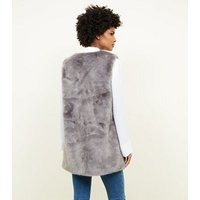 Tall Dark Grey Faux Fur Gilet New Look