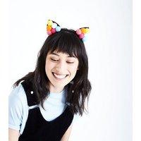 Rainbow Pom Pom Cat Ear Headband New Look