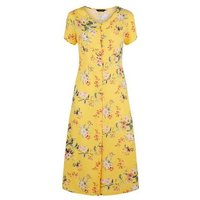 Yellow Floral Button Up Tea Midi Dress New Look