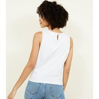 White Broderie Tie Front Sleeveless Top New Look