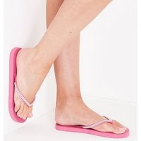 Bright Pink Diamante Strap Flip Flops New Look
