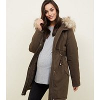 Maternity Khaki Faux Fur Trim Hooded Parka New Look