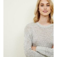 Tall Pale Grey Longline Knitted Jumper New Look