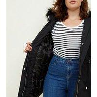 Curves Black Faux Fur Trim Hooded Parka New Look