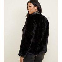 Curves Black Faux Fur Coat New Look