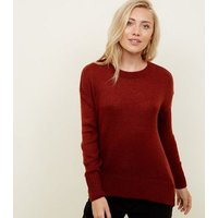 petite rust longline knitted jumper new look