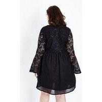 Mela Curves Black Lace Sleeve Dress New Look