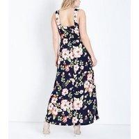 Mela Curves Blue Floral Print Maxi Dress New Look