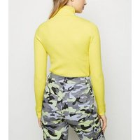 yellow neon roll neck popper cuff jumper new look