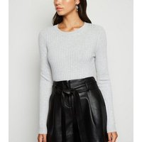 Pale Grey Crew Neck Ribbed Jumper New Look