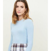 Pale Blue Crew Neck Ribbed Jumper New Look
