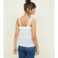 White Floral Cut Out Frill Trim Cami New Look