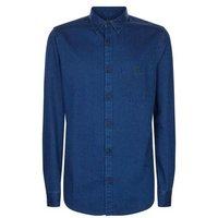 Dark Blue Washed Denim Shirt New Look